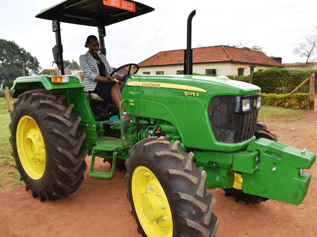 - Ag. Director MUARIK Dr. Alice Turinawe test-driving the newly acquired tractor