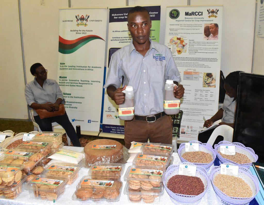 - MaRCCI MSc student on Plant Breeding and Seed system Kutuka John Keima speaking on the Sorghum porridge