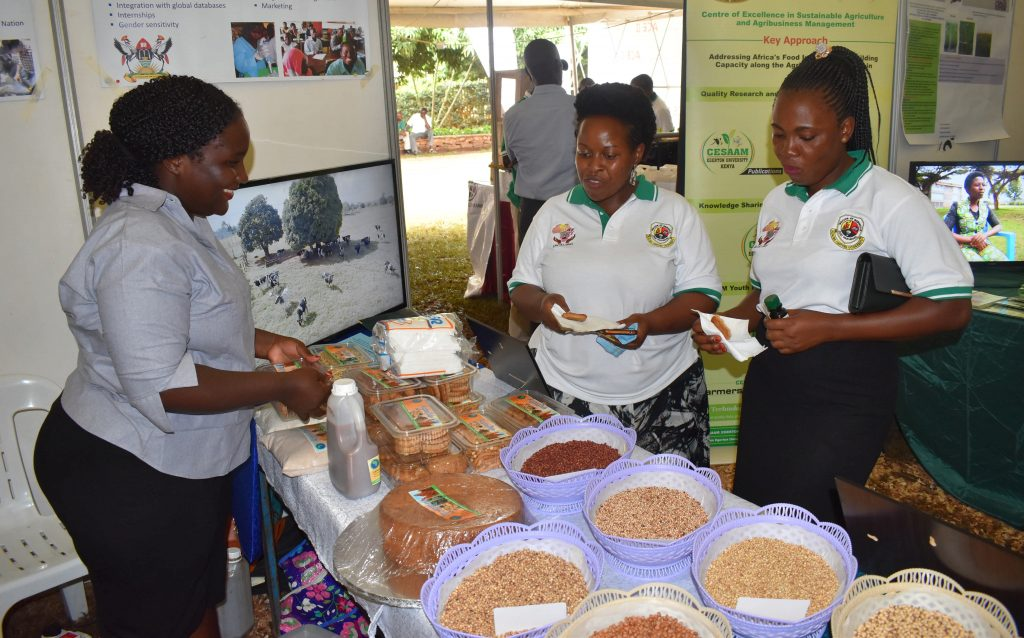 - MaRCCI PhD sudent Bigirwa Stella serves cowpea cookies to some of the conference goers