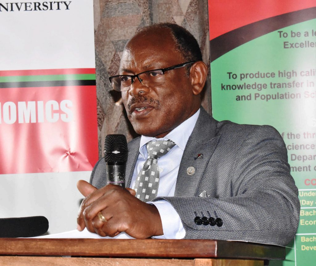 - Makerere University Vice Chancellor, Prof. Barnabas Nawangwe making his opening remarks at the Environment for Development Initiative (EfD–Mak) Centre dialogue
