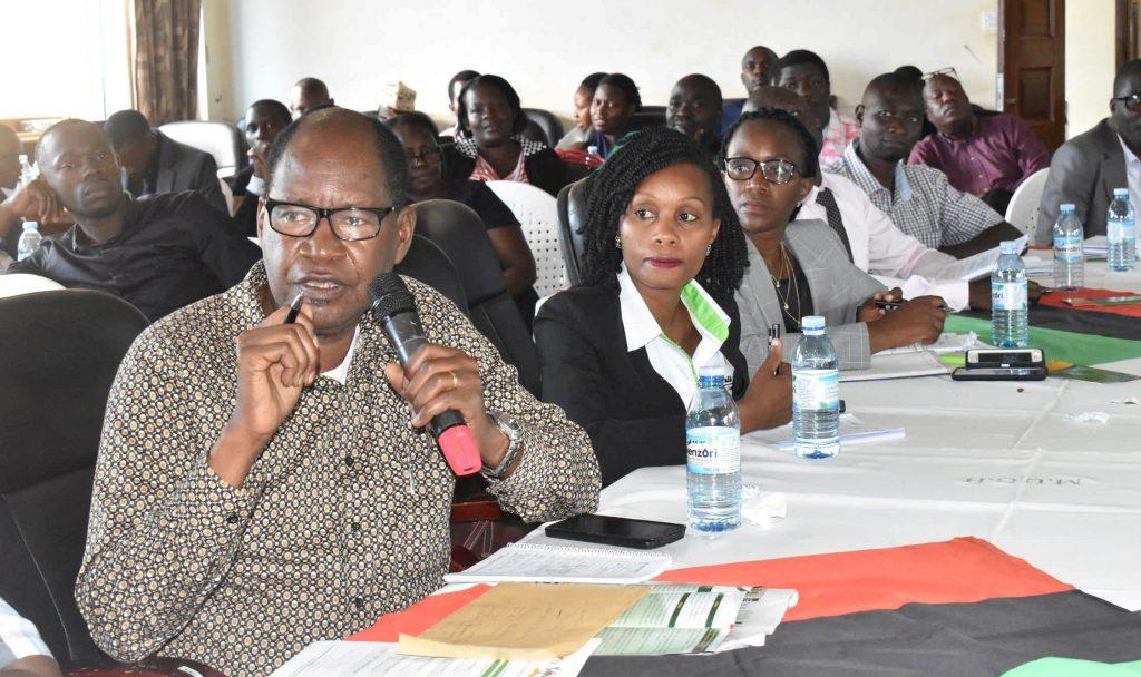 - Senior University staff Prof. Elly Sabiiti contributes during the dialogue