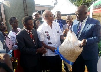 The MAAIF Minister, Hon. Vincent Bamulangaki Ssempijja (R) receives a bag of MakSoy 6N foundation seed from the Mak Soybean Centre PI-Prof. Phinehas Tukamuhabwa as the Director, DRGT-Prof. Buyinza Mukadasi (2nd L), Principal CAES-Prof. Bernard Bashaasha (2nd R) and other officials witness, 22nd February 2019, MUARIK, Makerere University, Wakiso Uganda