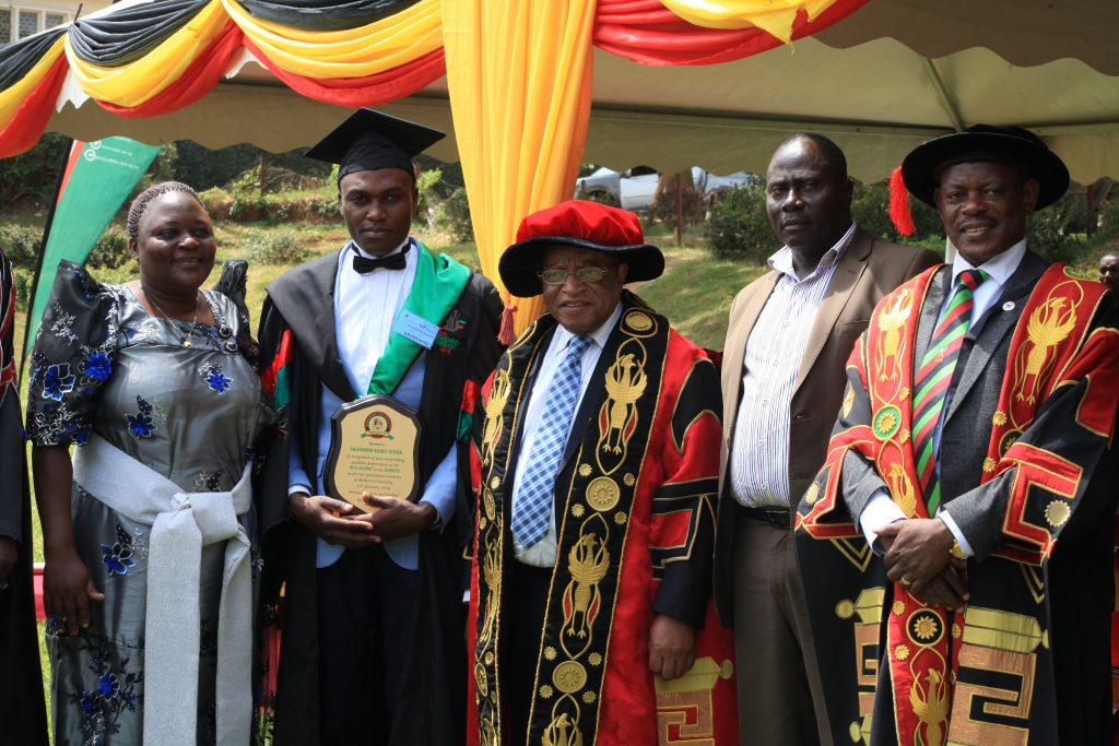 - Galiwango Kasozi Steven best Sciences student (CGPA of 4.84) in BSc Food Science & Technology being awarded by the Chancellor at the 69th Grad Ceremony