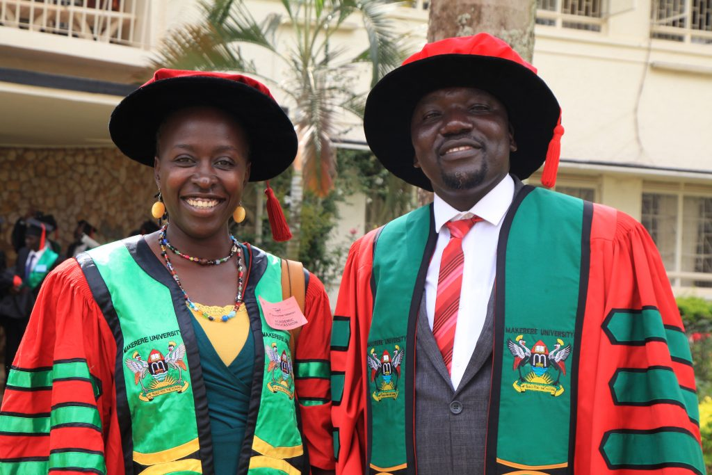 - Dr. Kalule Okello David after attaining his PhD. in Crop Science at the 69th Graduation with his supervisor Dr. Mildred Ochow-Ssemakula