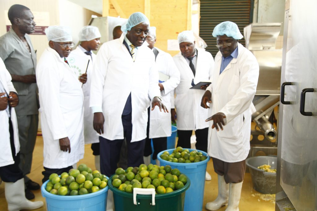 - Hon. Vincent Bamulangaki Ssempijja, Minister of Agriculture, Animal Industries and Fisheries tours the Food Technology and Business Incubation Center at the School of Food Technology, Nutrition and Bio-Engineering School, CAES