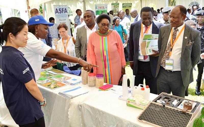 - Hon. Mary Karooro Okurut representing the Prime Minister tours the exhibitions at the 2nd Joint NARO-MAK Conference, November 2018 at Speke Resort Hotel, Munyonyo
