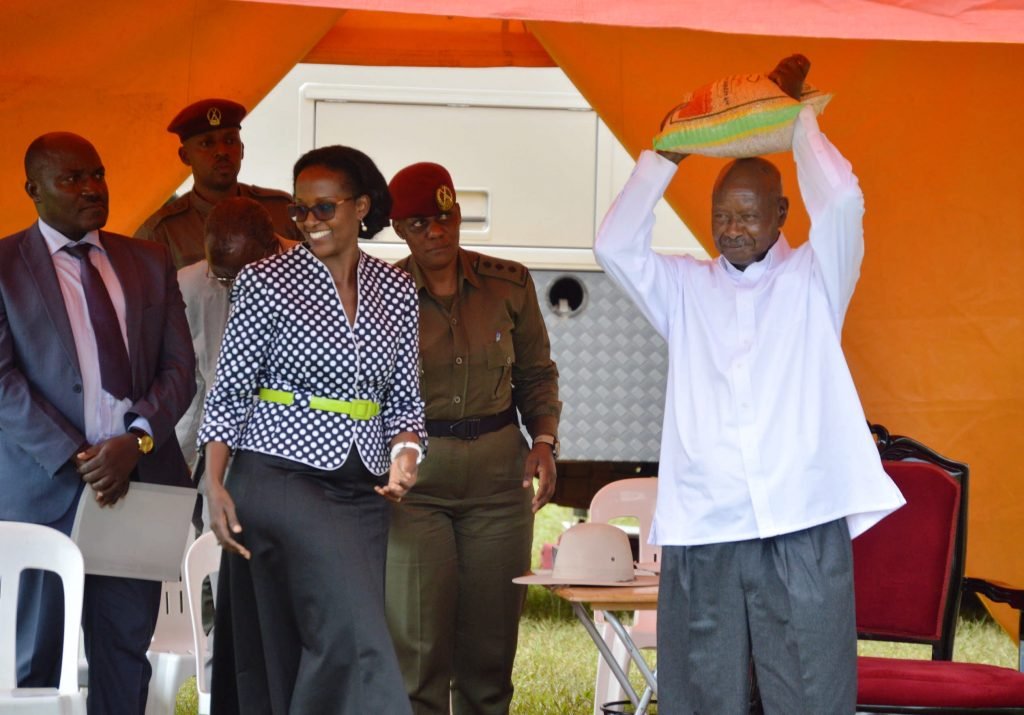 - President Museveni with a bag of Mak soybean 6N given to him as a gift