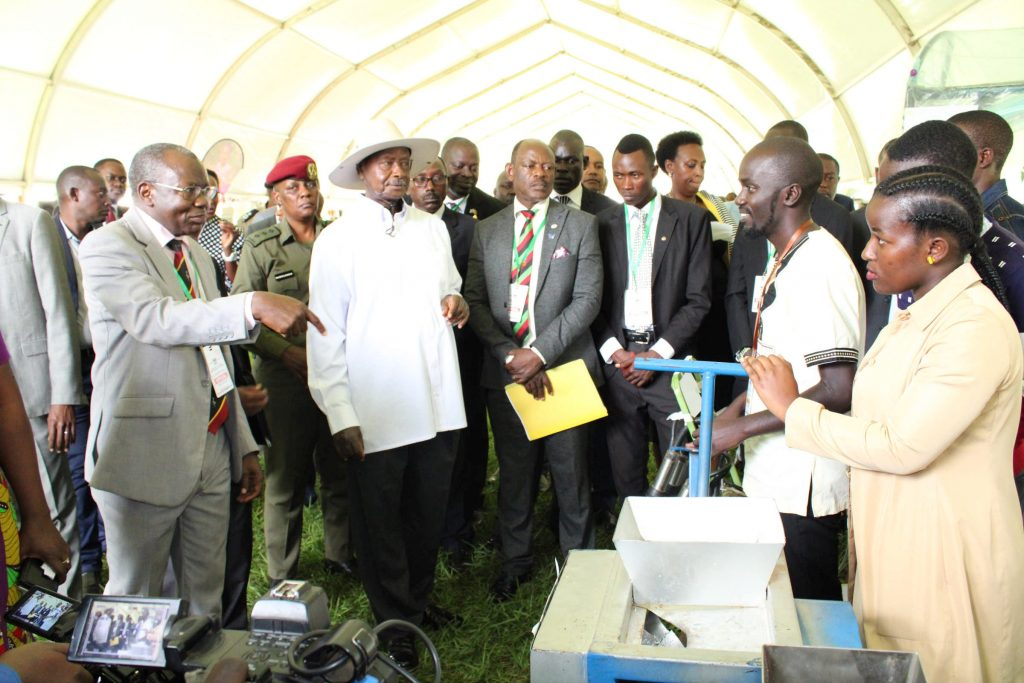 - President visit to the Agricultural Engineering section during the Makerere University Agricultural Day and Exhibition