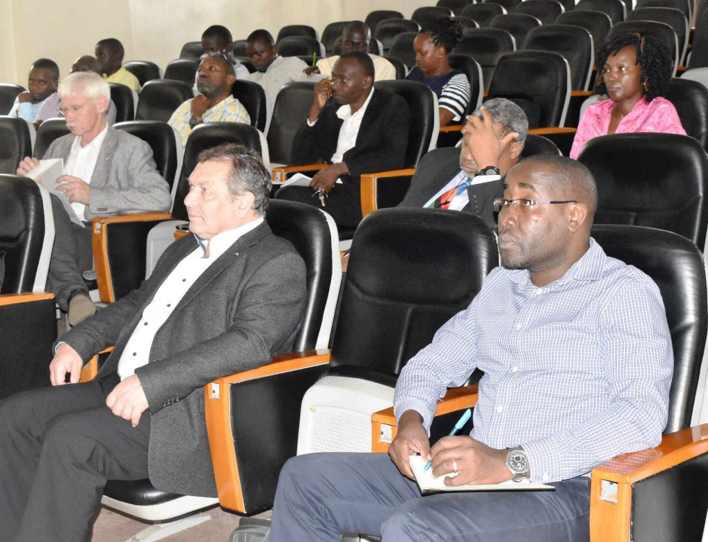 - Prof. Ruger Winnegger (Far Left), Prof Hubert Roth and Maks HOD of Geography Dr. Frank Mugagga during the Demand Driven Teaching (DDT) project meeting