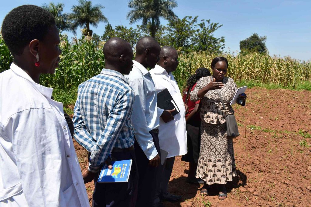 - One of the farmers (R) asking questions during the field visit